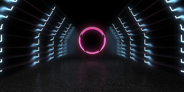 Abstrait 3d avec néons. illustration 3d