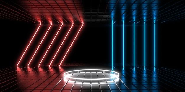 Abstrait 3d avec néons. tunnel au néon. construction de l'espace. illustration 3d