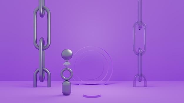 Abstrait 3d avec des objets matériels