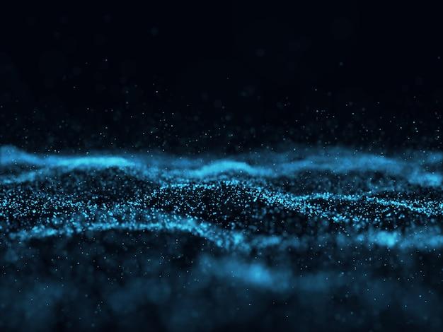 Abstrait 3d avec des particules futuristes