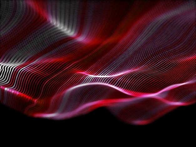 Abstrait 3d avec des particules qui coule