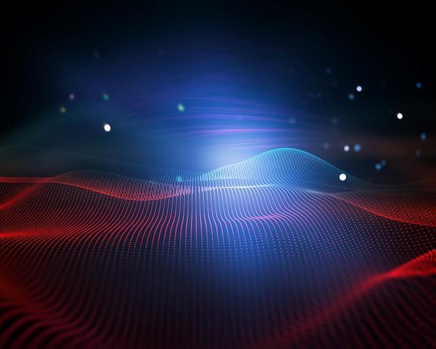 Abstrait 3d avec points qui coule, paysage numérique, connexions modernes