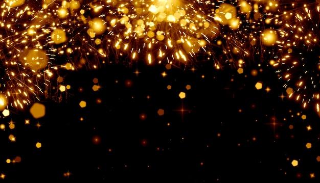 Abstrait abstrait de noël festif avec feux d'artifice et éclaboussures de champagne