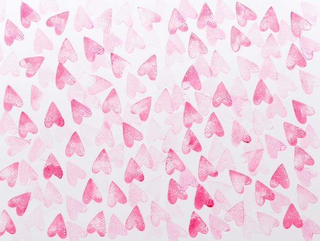 Abstrait aquarelle coeur rouge, rose. amour de concept, carte de voeux de saint valentin.