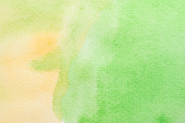Abstrait aquarelle verte, jaune et blanche. peinture à la main