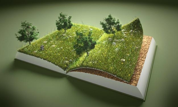 Abstrait arbres et livre au sol