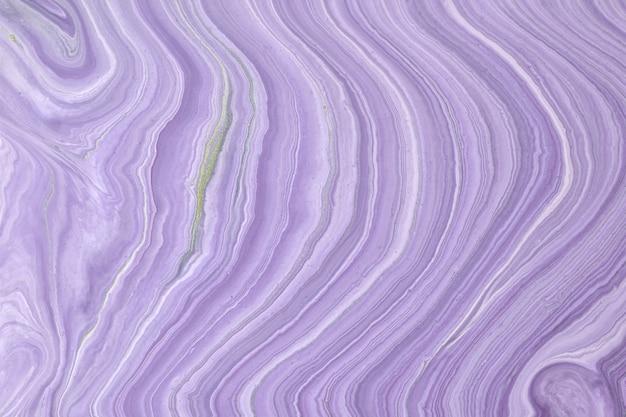 Abstrait art fluide couleurs violet clair et blanc. marbre liquide. peinture acrylique sur toile avec dégradé lilas.