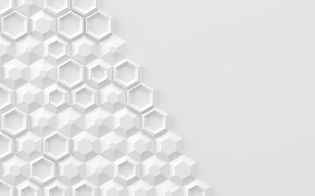 Abstrait basé sur illustration 3d d'éléments hexagonaux volumétriques aléatoires
