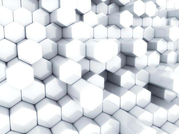 Abstrait blanc avec différents hexagones