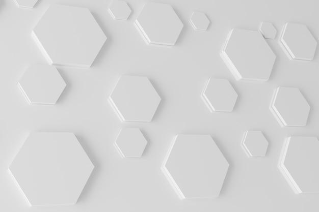 Abstrait blanc hexagone fond en nid d'abeille rendu 3d