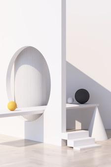 Abstrait blanc avec podium de forme géométrique pour produit avec ombre sur mur. concept minimal jaune et gris. rendu 3d