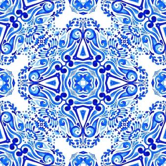 Abstrait bleu et blanc dessiné à la main carrelage motif de peinture aquarelle ornementale transparente