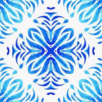Abstrait bleu et blanc dessiné à la main tuile transparente motif de peinture aquarelle ornementale. texture de luxe élégante