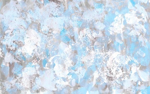 Abstrait bleu blanc et gris texture dessinés à la main acrylique fond rugueux toile de fond colorée
