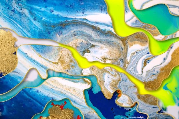 Abstrait bleu marbré jaune et or avec bordures dégradées or