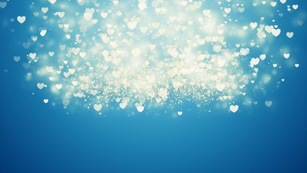 Abstrait bleu numérique avec des particules de coeur, vagues.