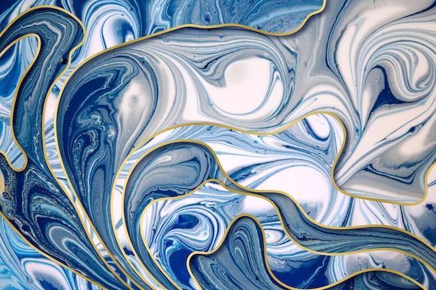 Abstrait bleu et or marbré avec bordures dégradées or