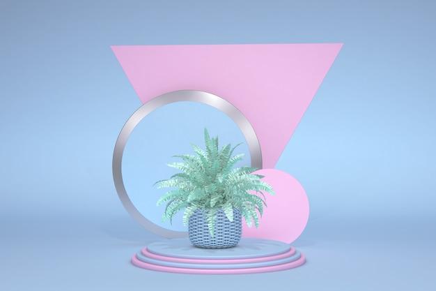 Abstrait bleu avec podium de forme rose géométrique et fougère pastel vert rendu 3d de concept minimal