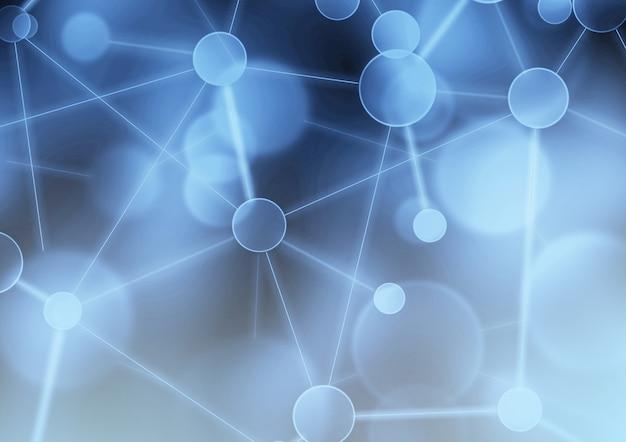 Abstrait bleu réseau. réseau social neuronal concept de structure de connexion scientifique de réseau blockchain. arrière-plan virtuel avec des composés génétiques et chimiques de la structure des molécules de particules