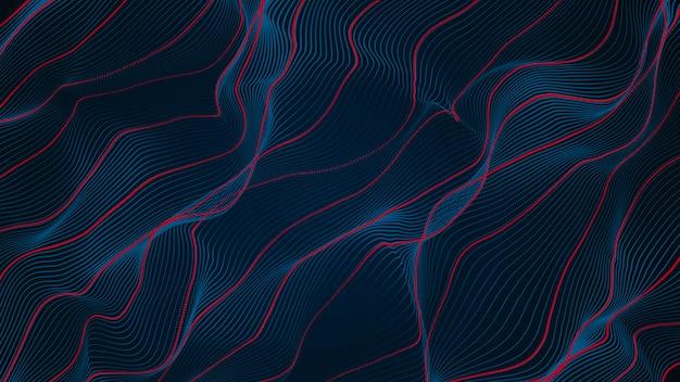 Abstrait bleu et rouge ligne courbe fond d'onde