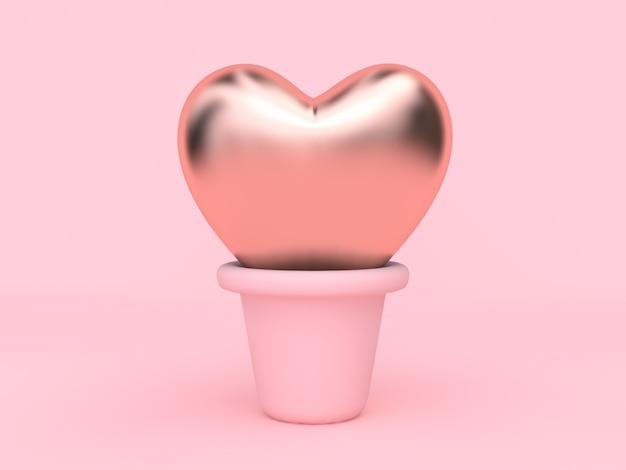 Abstrait coeur rose métallique en pot amour saint valentin concept rendu 3d