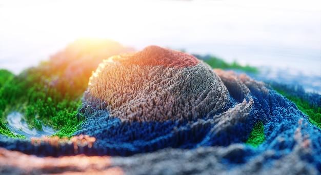 Abstrait coloré. art de la nature numérique de la roche de montagne 3d.