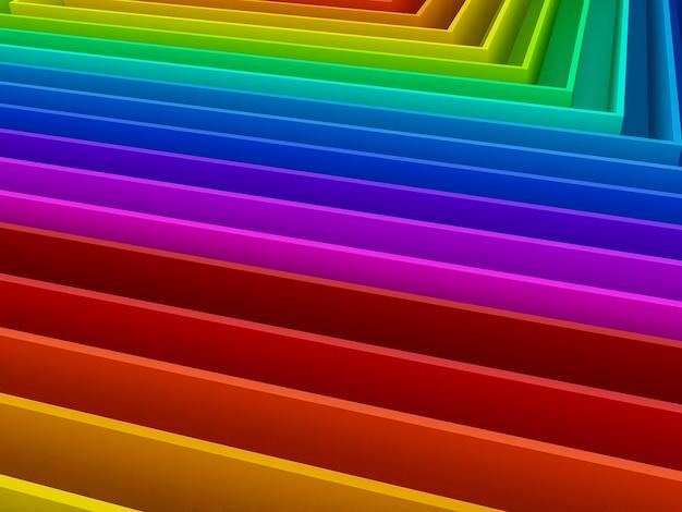 Abstrait coloré de fond arc-en-ciel courbe, 3d