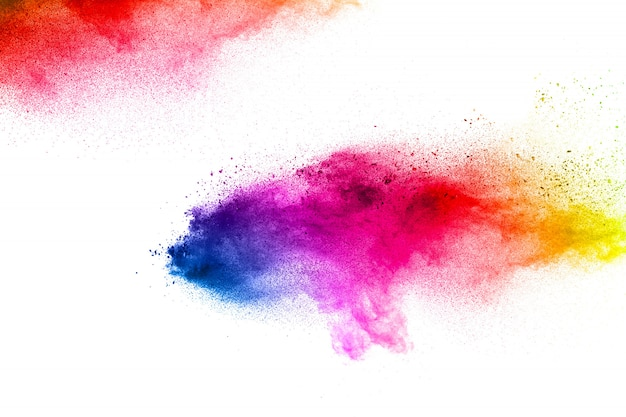 Abstrait coloré de particules de poussière texturé fond. explosion de particules multicolores.