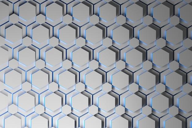 Abstrait avec des couches d'hexagones répétés blancs avec des bords bleus.