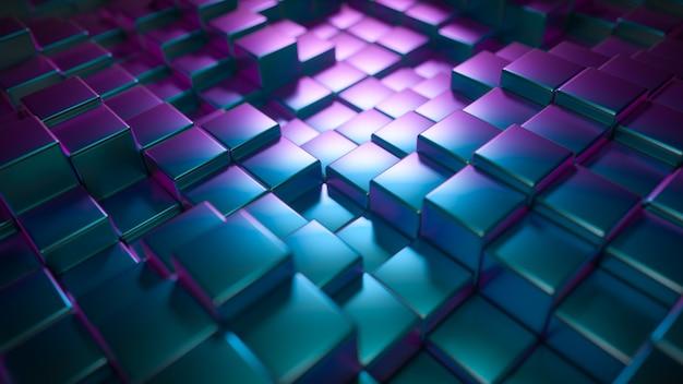 Abstrait de cubes brillants métalliques
