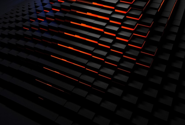Abstrait de cubes noirs brillant de lumière rouge