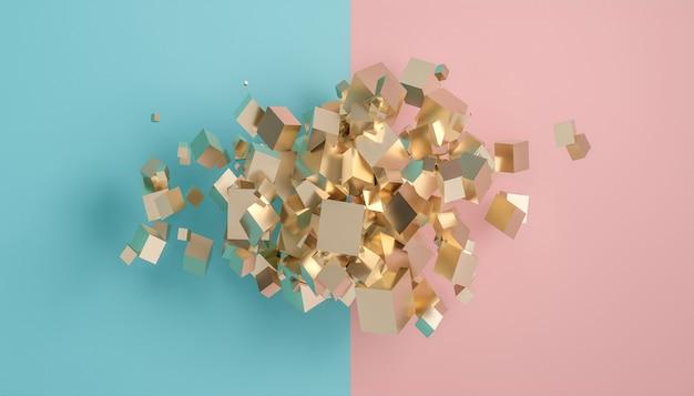 Abstrait, cubes d'or de différentes tailles sur fond bicolore