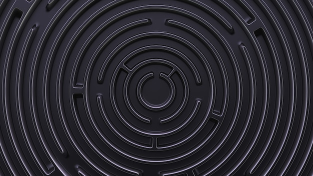 Abstrait dans un style futuriste. labyrinthe circulaire. vue de dessus.