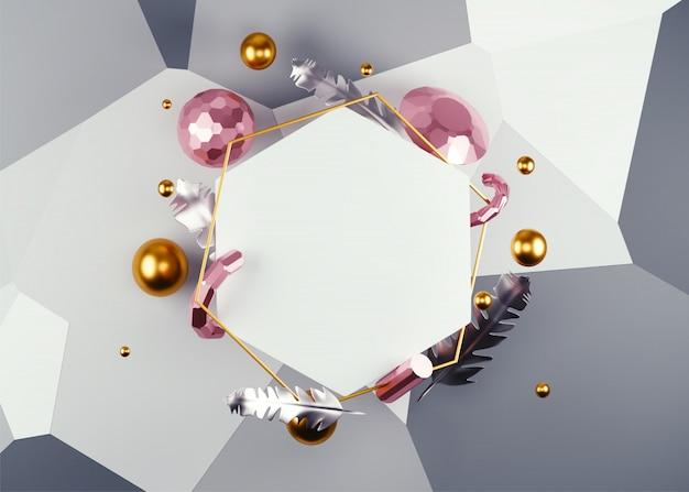 Abstrait décoré avec cadre hexagonal blanc, plumes