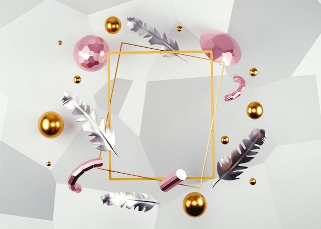 Abstrait décoré avec cadre vierge, plumes, perles