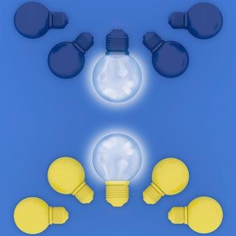 Abstrait différent pastel jaune ampoules incandescentes et bleu ampoules incandescent bleu
