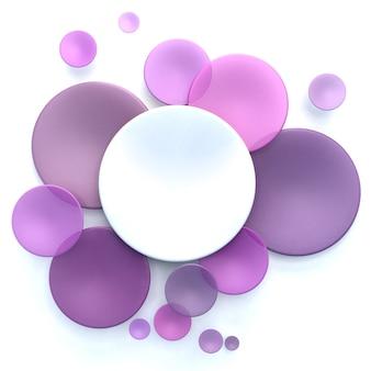 Abstrait avec des disques transparents blancs et roses, violets