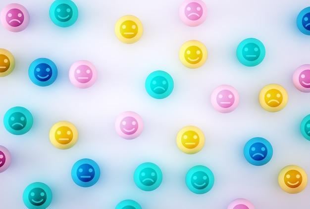 Abstrait de l'émotion du visage: bonheur et tristesse, unique, penser différemment, individuellement et se démarquer de la foule. sphérique coloré avec icône sur fond bleu.