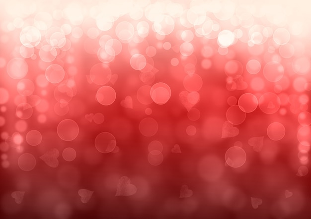 Abstrait festif de la saint-valentin rouge. texture de motif effet scintillant bokeh avec des coeurs.