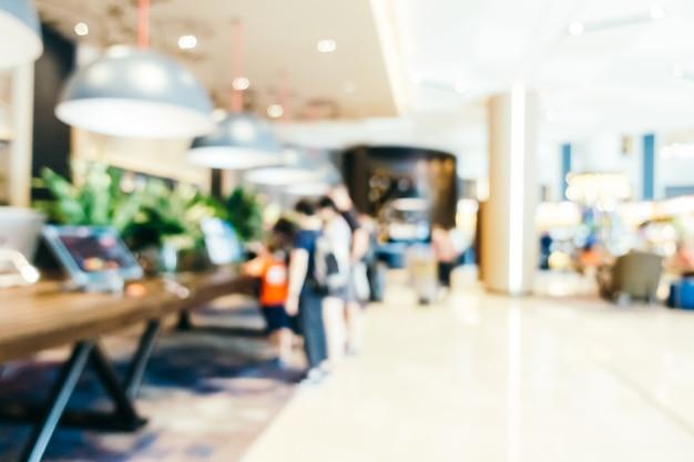 Abstrait flou et défocalisé intérieur de l'hôtel et du hall d'entrée