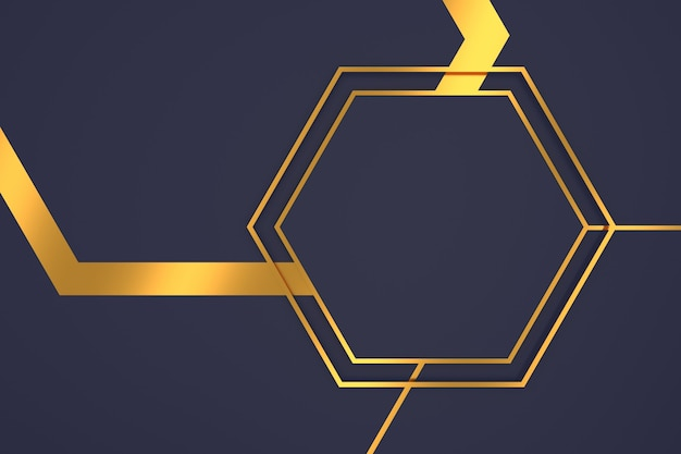 Abstrait de forme hexagonale avec des concepts de luxe en rendu 3d