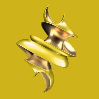 Abstrait avec forme jaune et or