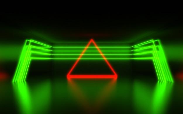 Abstrait futuriste. chambre avec néon. abstrait 3d