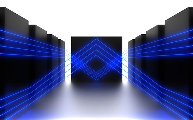 Abstrait futuriste. chambre avec néon. illustration 3d
