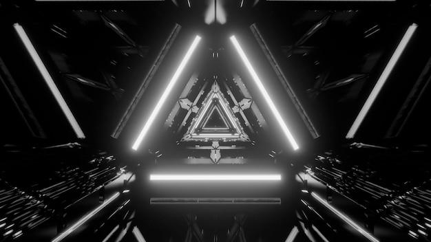 Abstrait futuriste en niveaux de gris avec des effets de lumière