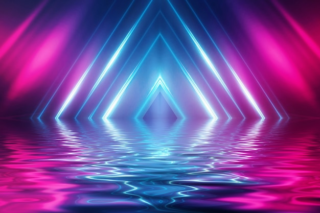 Abstrait futuriste sombre. rayons de lumière néon réfléchis par l'eau. fond de spectacle sur scène vide, fête sur la plage.