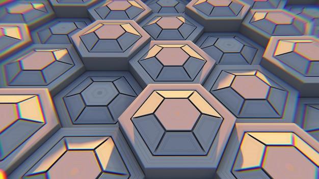 Abstrait géométrique blanc hexagonal. illustration 3d