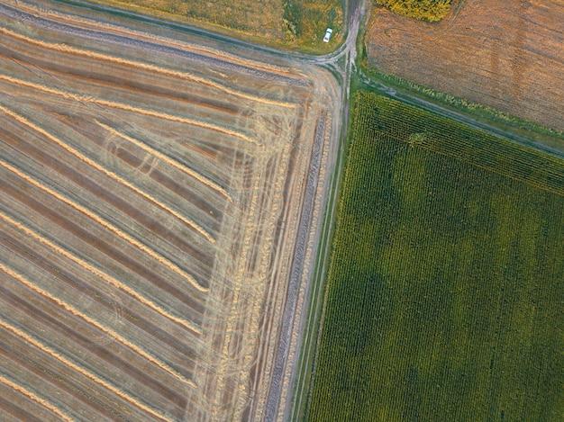 Abstrait géométrique des champs agricoles avec différentes cultures et sols après la récolte séparés par la route. une vue plongeante depuis le drone. vue de dessus