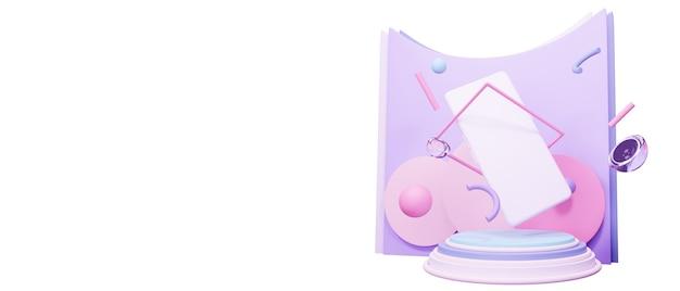 Abstrait géométrique de couleur blanche. concept de smartphone moderne en illustration de rendu 3d. maquette mode et tendance avec des sphères et des cubes. espace vide pour la présentation du design.