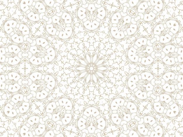 Abstrait géométrique doré sur blanc. motif pour la décoration et le design, motif symétrique de couleur or